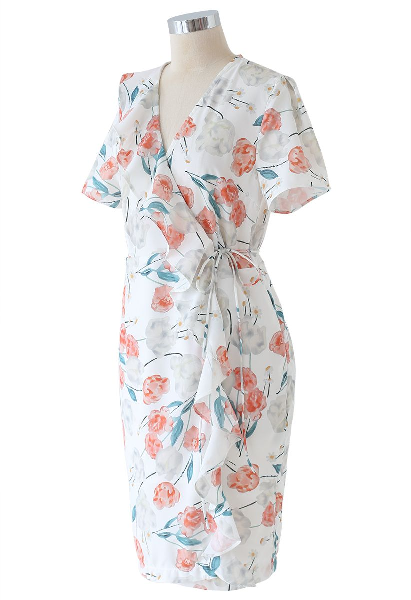 Watercolor Floral Ruffle Wrapped Dress