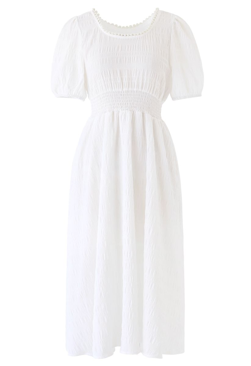 Pearl Trim Round Neck Midi Dress in White