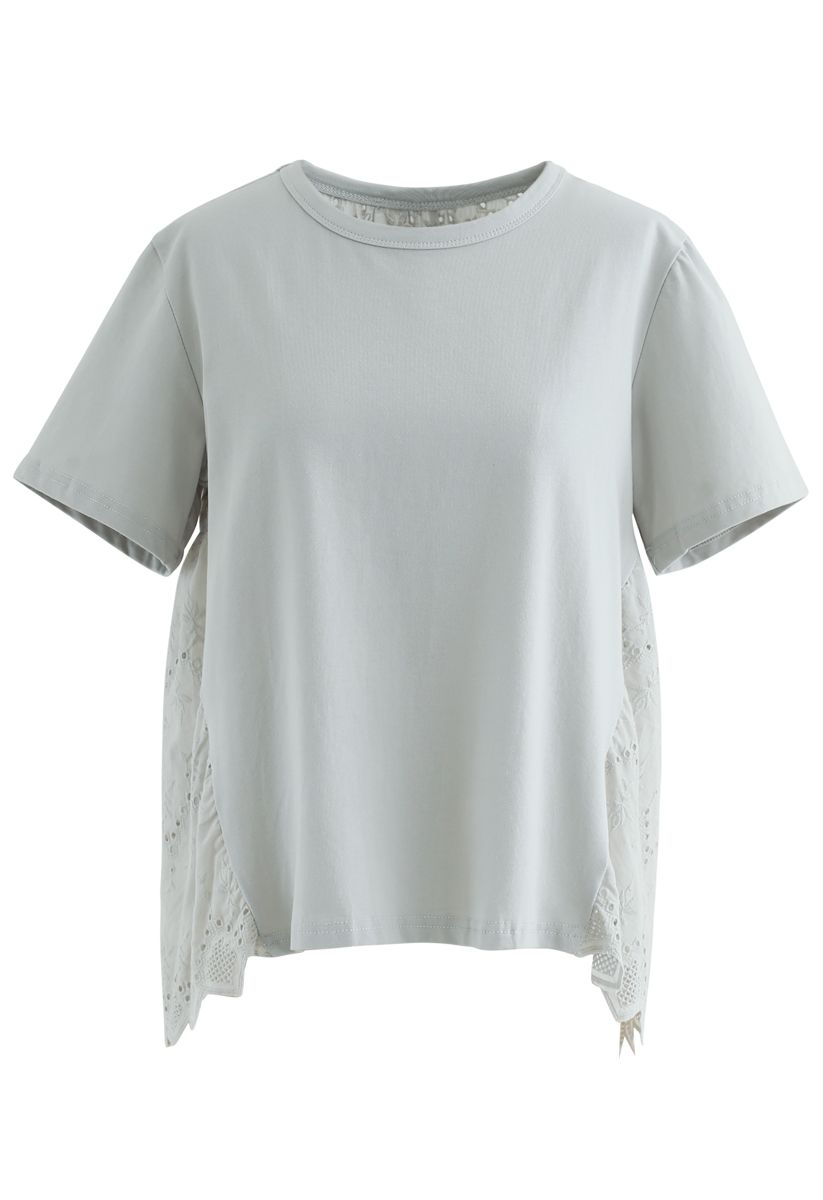 Spliced Embroidered Eyelet Hi-Lo Loose Top