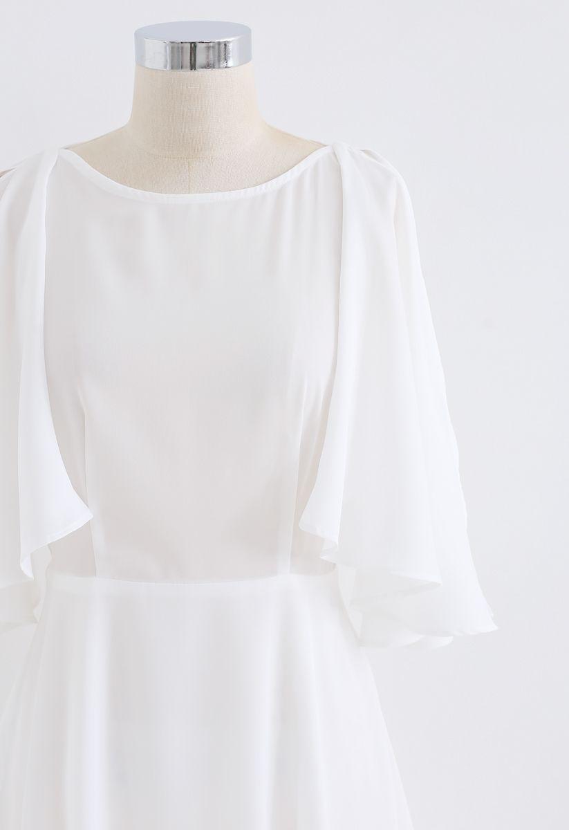 Asymmetric Cold-Shoulder Midi Dress in White
