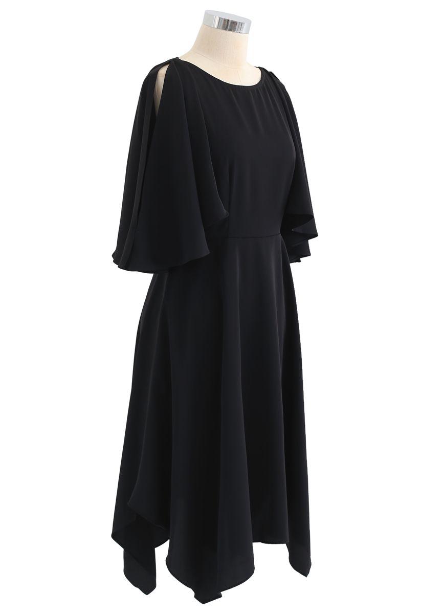 Asymmetric Cold-Shoulder Midi Dress in Black
