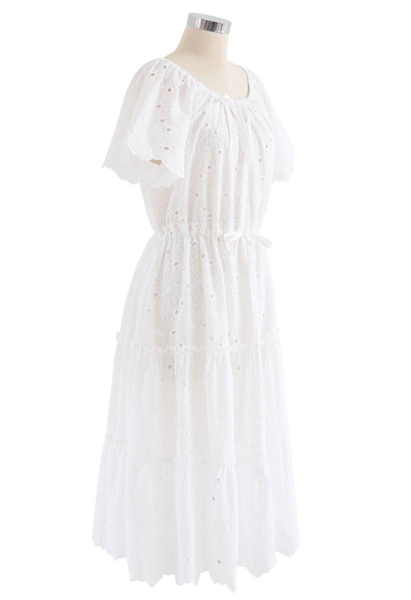 Drawstring Waist Embroidered Floral Eyelet Dress