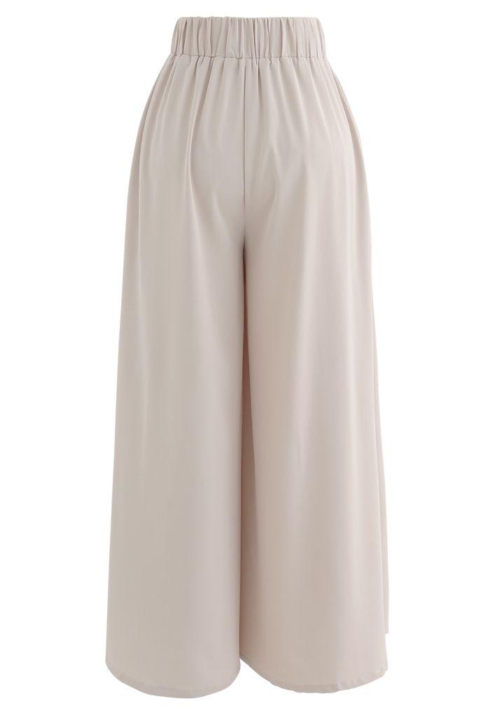Flowy Satin Flare Leg Pockets Pants in Cream