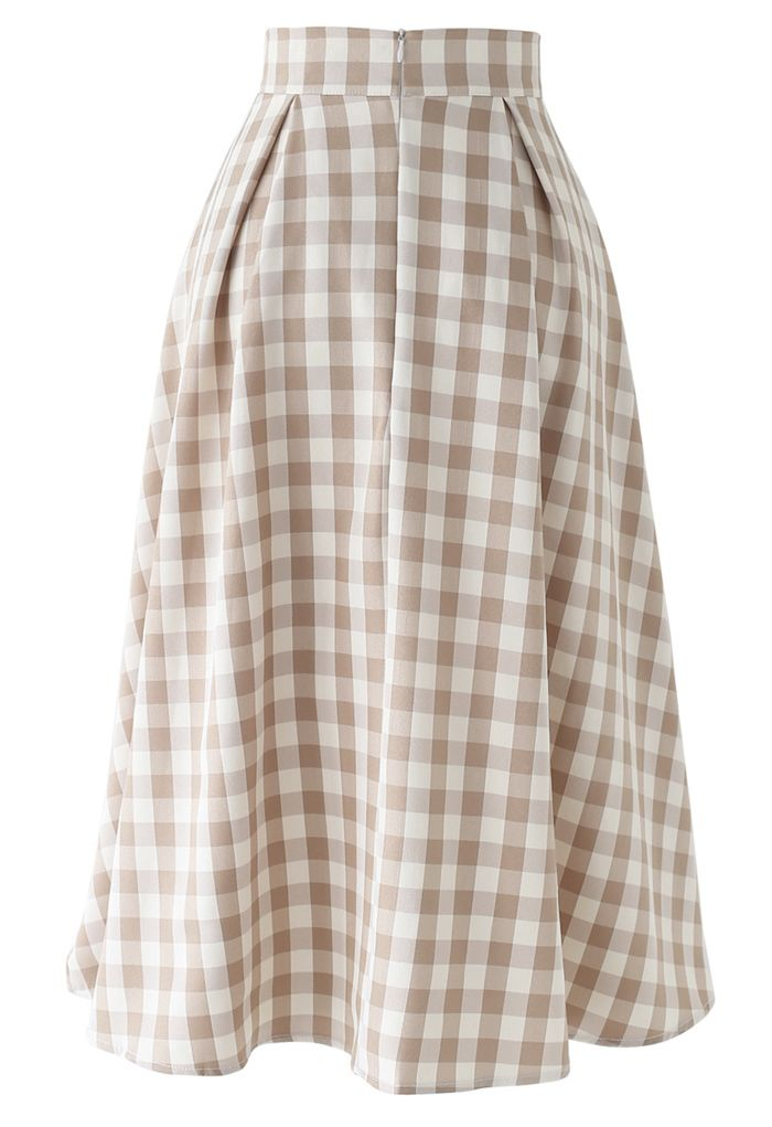 Buttoned Front Check Print A-Line Midi Skirt in Tan