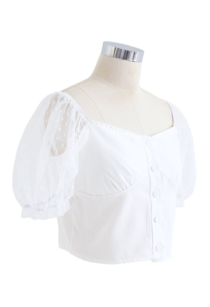 Lace Sleeves Spliced Button Down Crop Top in White