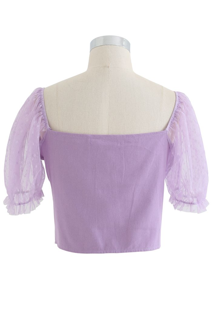 Lace Sleeves Spliced Button Down Crop Top in Purple