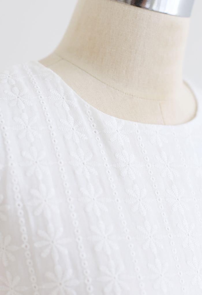 Floret Embroidered Drawstring Waist Eyelet Mini Dress in White