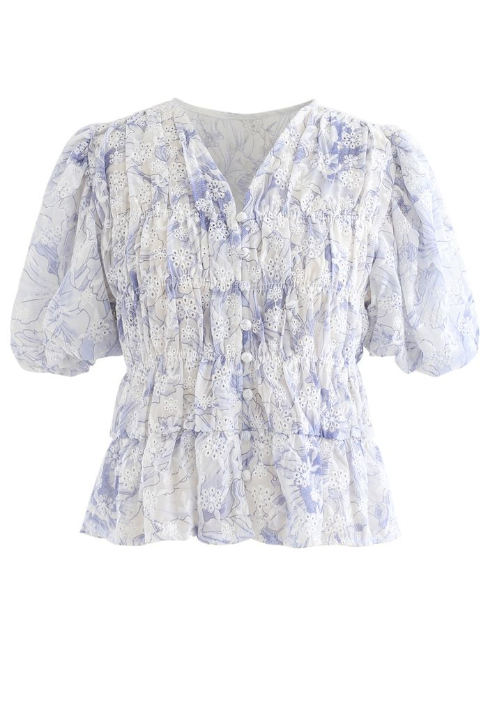 Floral Print Bubble Sleeves Button Down Chiffon Top in Blue