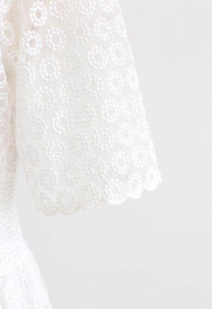 Elegant Embroidered Circle Mesh V-Neck Midi Dress