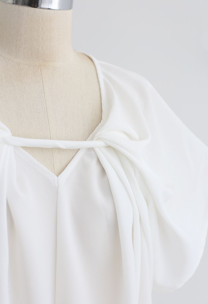 V-Neck Twisted Flare Sleeves Top in White