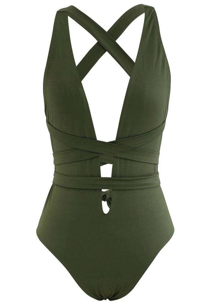 Deep V-Neck Lace-Up One-Piece Swimsuit in Army Green