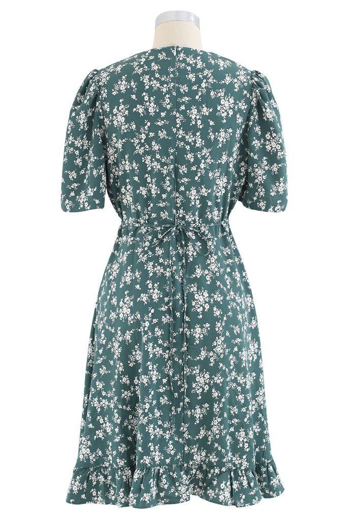 Blissful Floret Print Frill Hem Wrap Midi Dress in Green