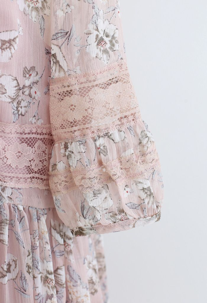 Gossamery Organza Lace Panelled Floral Dolly Dress in Pink