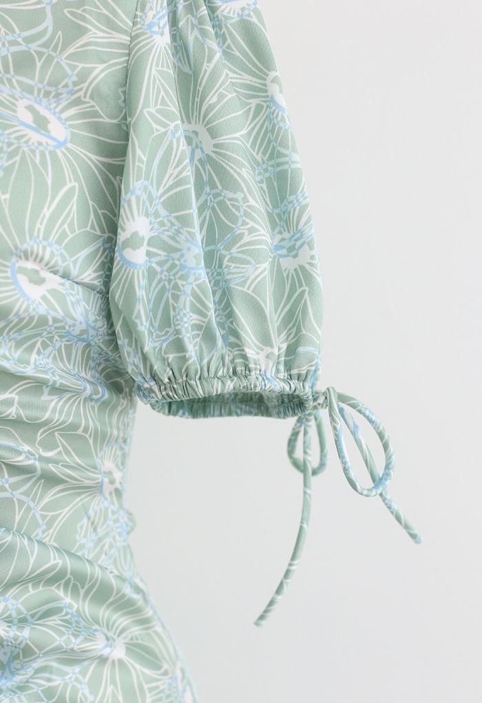 Drawstring Cuffs Floral Print Midi Dress in Green