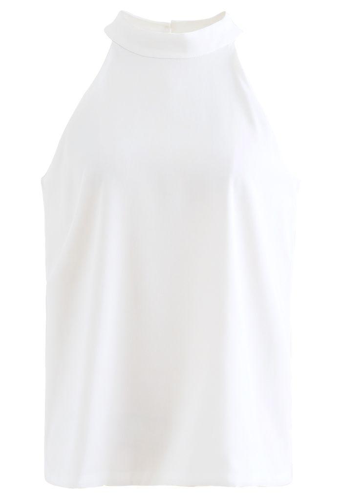 Sleek Loose Fit Halter Top in White