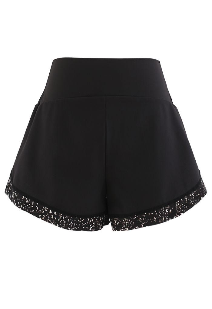 Contrast Color Spot Trim Luminous Sports Shorts in Black