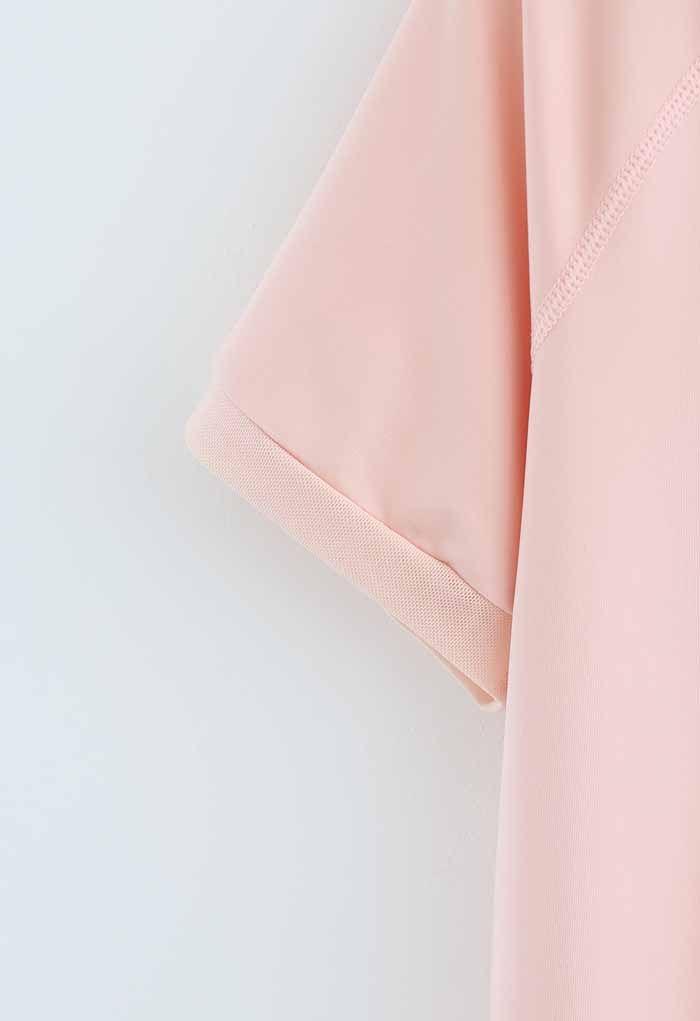 Crisscross Flap Mesh Inserted Lightweight Tee in Nude Pink