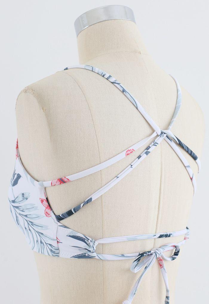 Leaf Print Open Back Bikini Set in Black