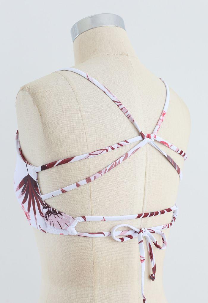 Leaf Print Open Back Bikini Set in Burgundy