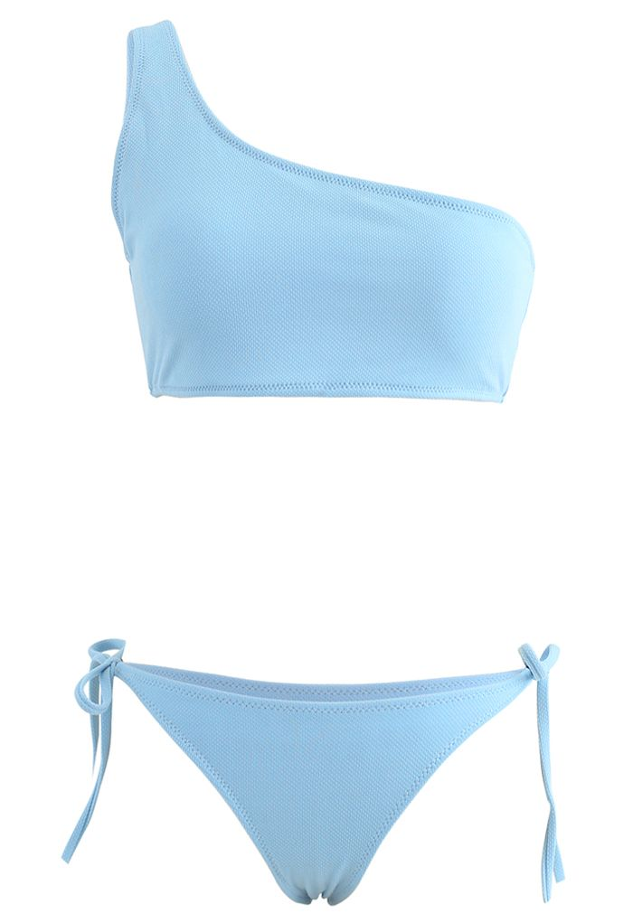One-Shoulder Tie Side Low Rise Bikini Set in Blue