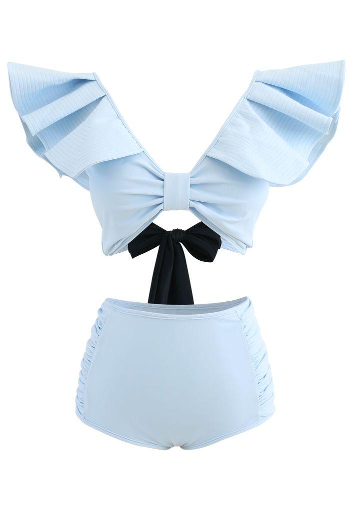 Plunging V-Neck Bowknot Ruffle Trim Bikini Set