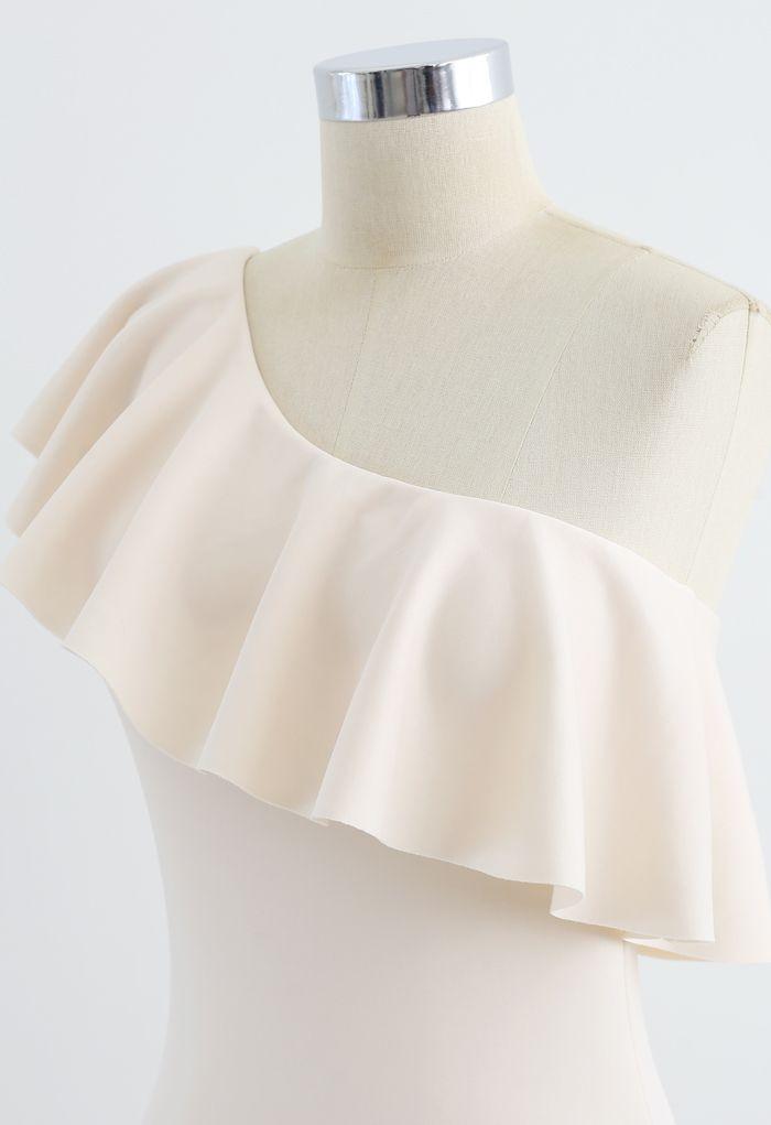 Oblique Shoulder Ruffle Trim One-Piece Swimsuit