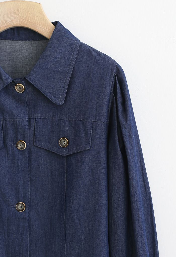 Buttoned Pleated Puff Sleeves Crop Denim Jacket in Navy