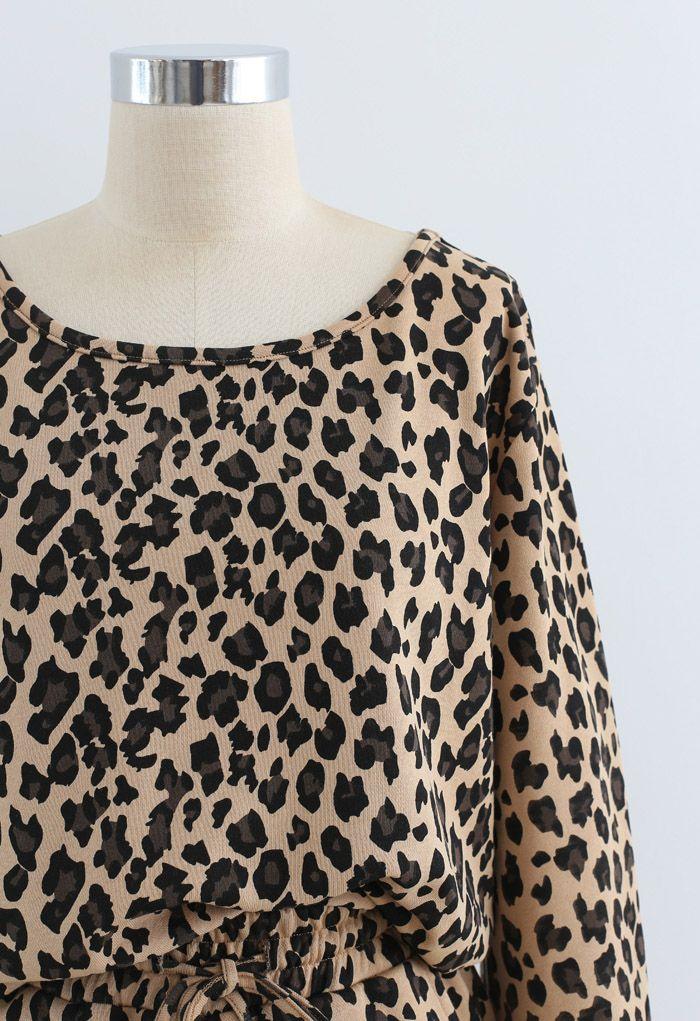 Leopard Print Long Sleeves Top and Drawstring Shorts Set