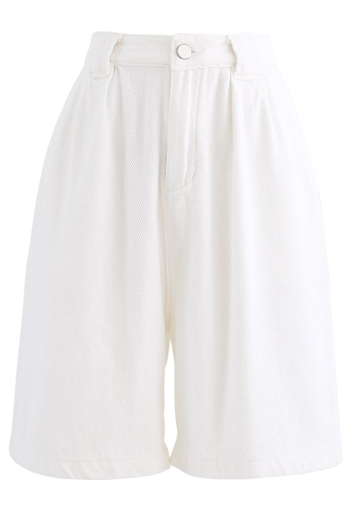 Relaxed Bermuda Shorts in White