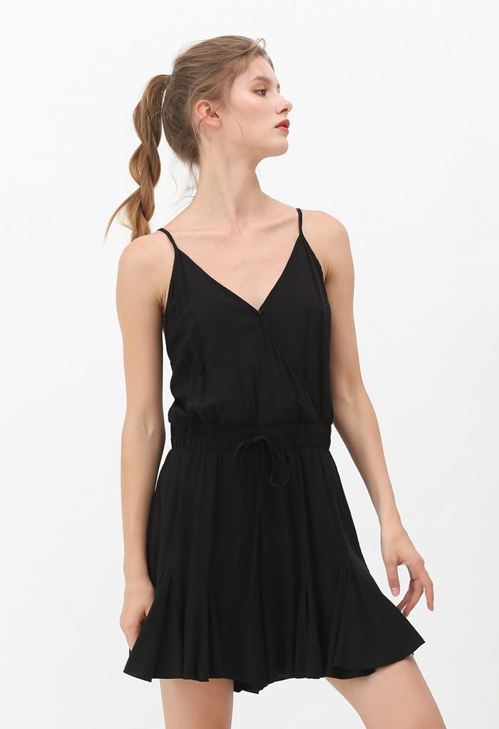 Ruffle Hem Wrapped Cami Playsuit in Black