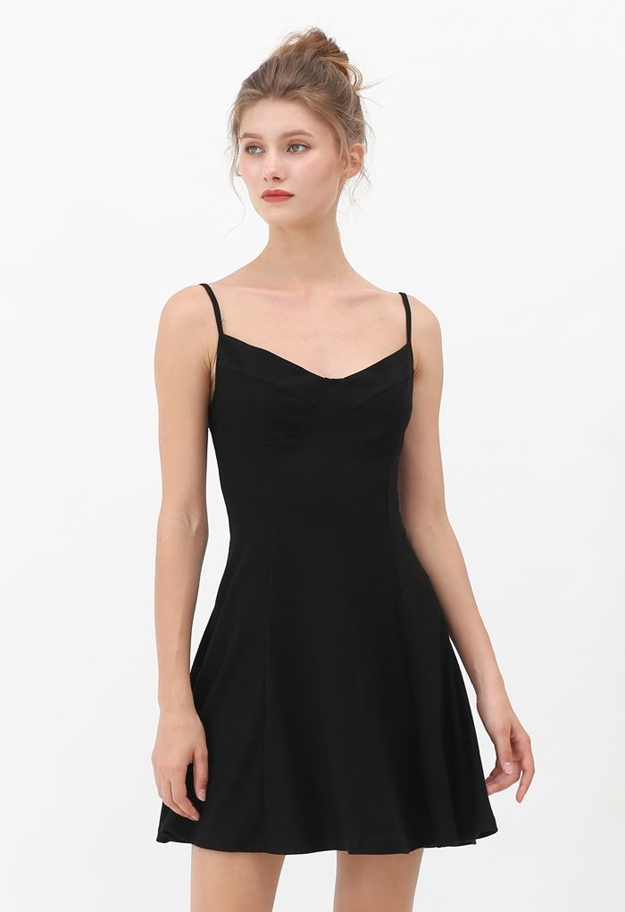 Fit and Flare Ribbed Cami Skater Dress in Black