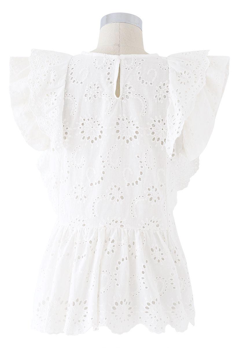 Ruffle Trim Eyelet Embroidery Sleeveless Top in White