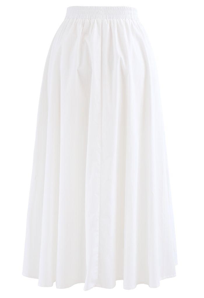 Ruffle Trim A-Line Cotton Midi Skirt in White