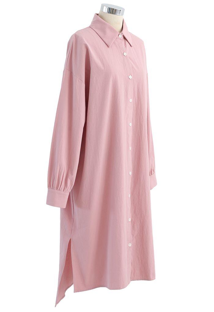 Asymmetric Split Hem Button Down Shirt Dress in Pink