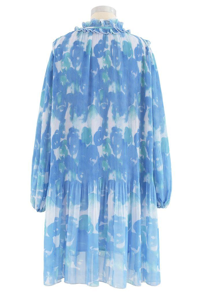 Pleated Ruffle Puff Sleeves Tie-Dye Dolly Dress