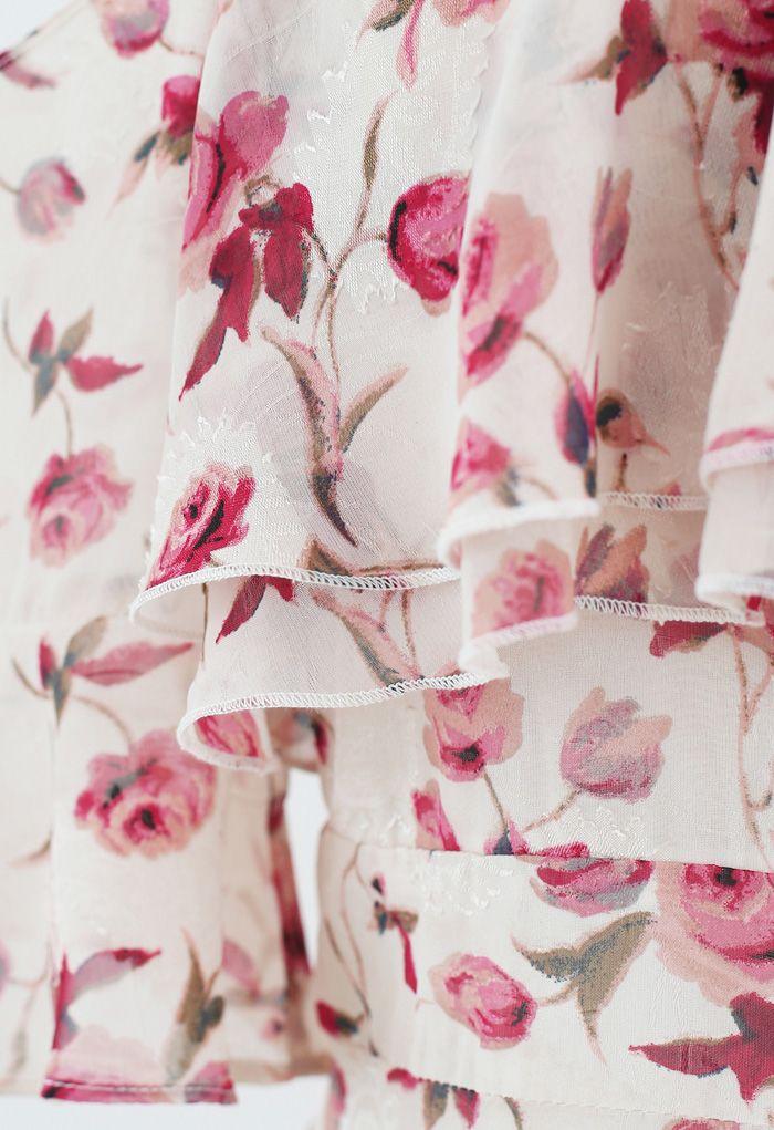 Cold-Shoulder Rose Print Jacquard Halter Dress