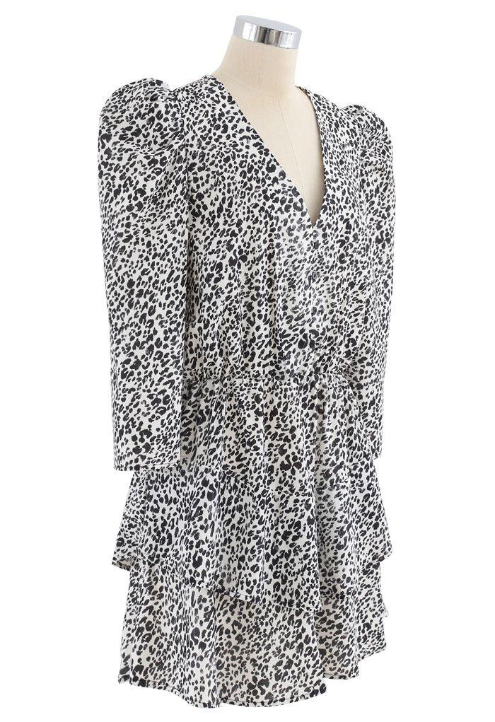 Animal Print Puff Sleeves Tiered Hem Mini Dress