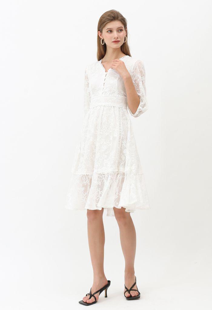 V-Neck Crochet Branches Semi-Sheer Midi Dress