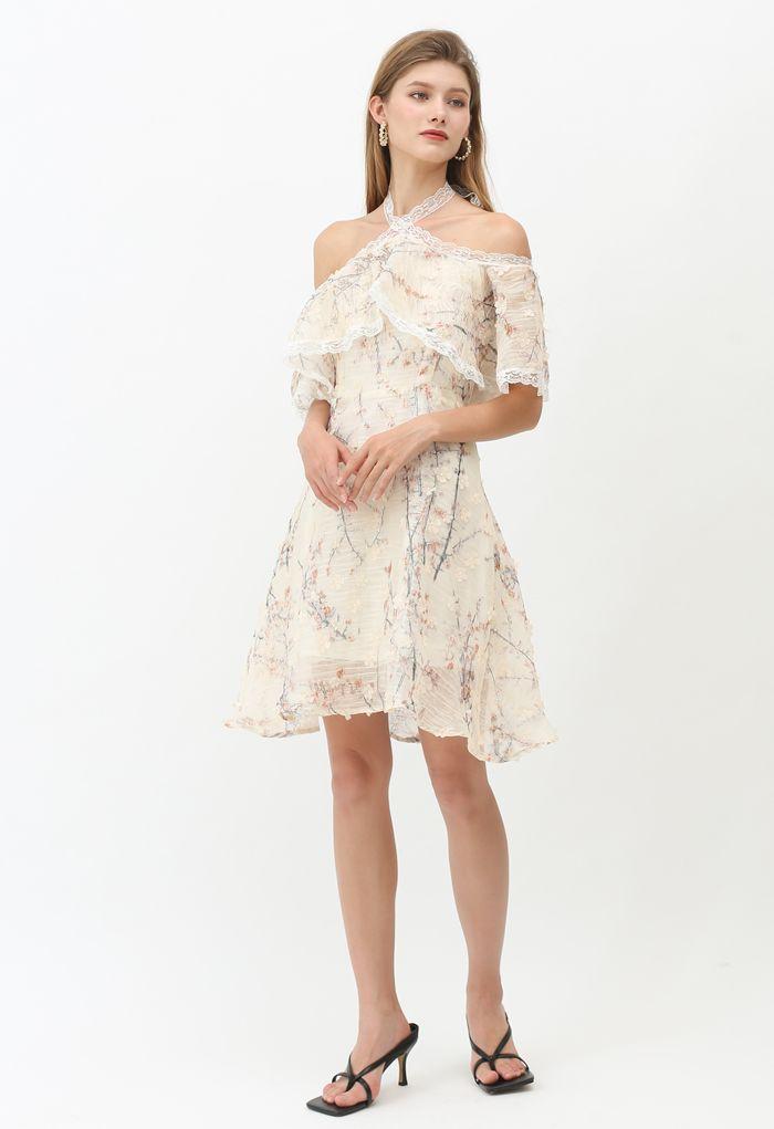 3D Flower Watercolor Organza Sleeveless Halter Dress