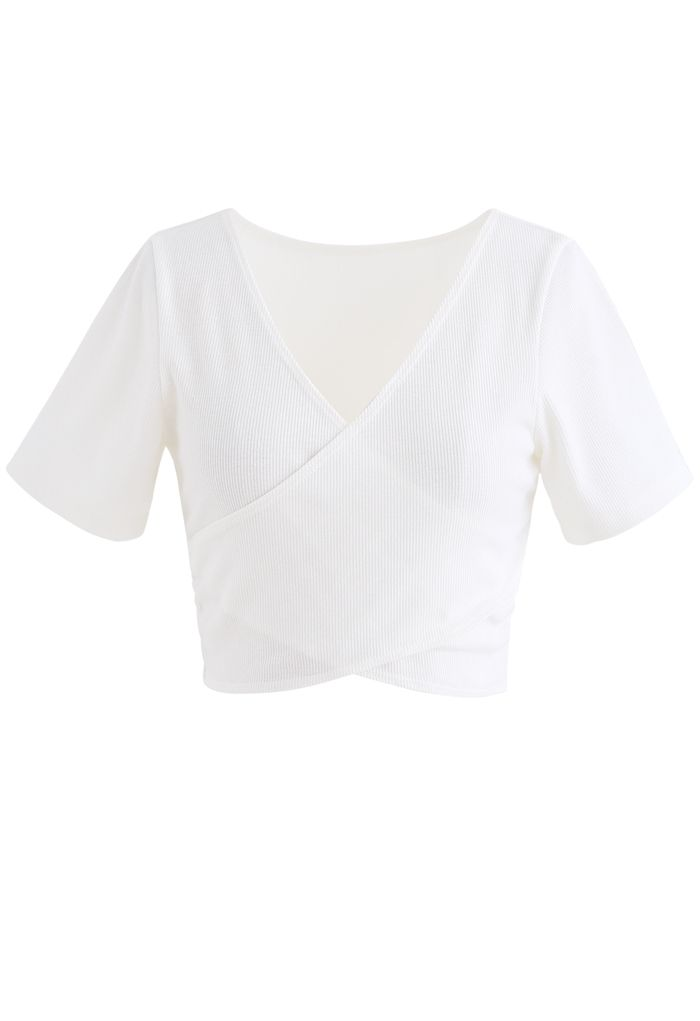 Crisscross Front Short Sleeves Ribbed Top in White