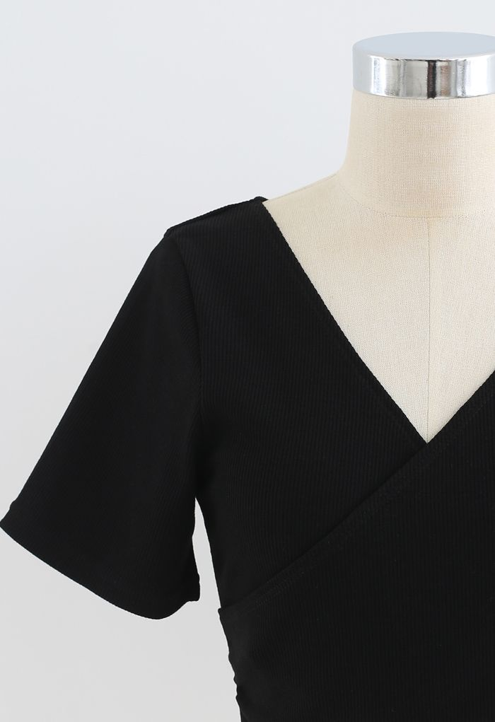 Crisscross Front Short Sleeves Ribbed Top in Black