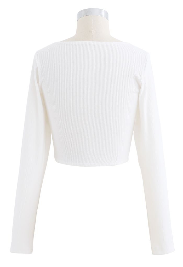 Crisscross Front Long Sleeves Ribbed Top in White