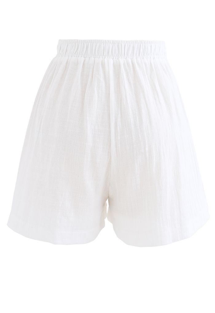 Pintuck Front Pockets Cotton Shorts in White