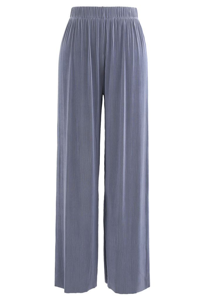 Contrasted High-Waisted Ribbed Pants in Dusty Blue