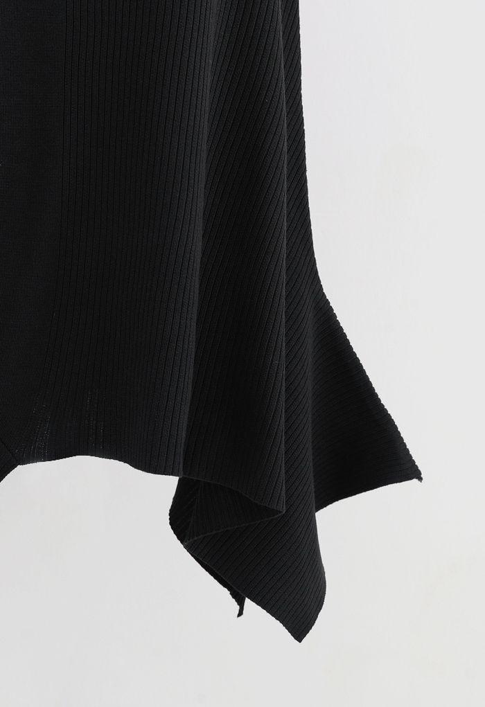 Asymmetric Hem Ribbed Knit Cami Dress in Black