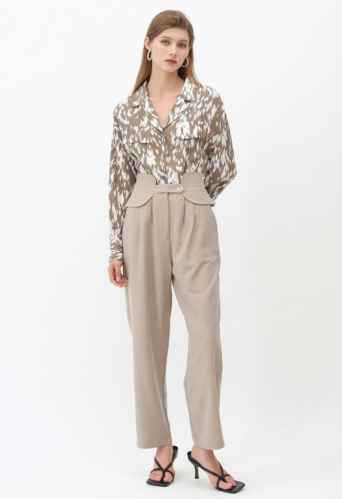 Artistic Brushes Contrasted Color Shirt in Tan