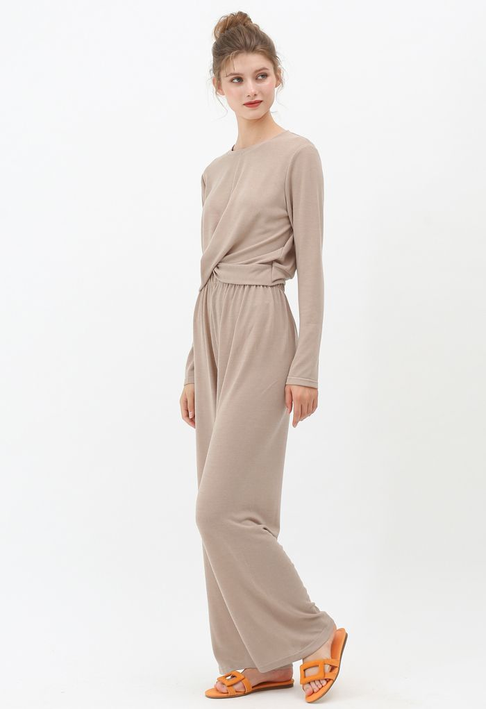 Twist Crop Knit Top and High-Waisted Pants Set in Tan