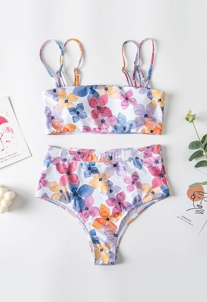 Multicolored Floral Double Straps High-Waisted Bikini Set