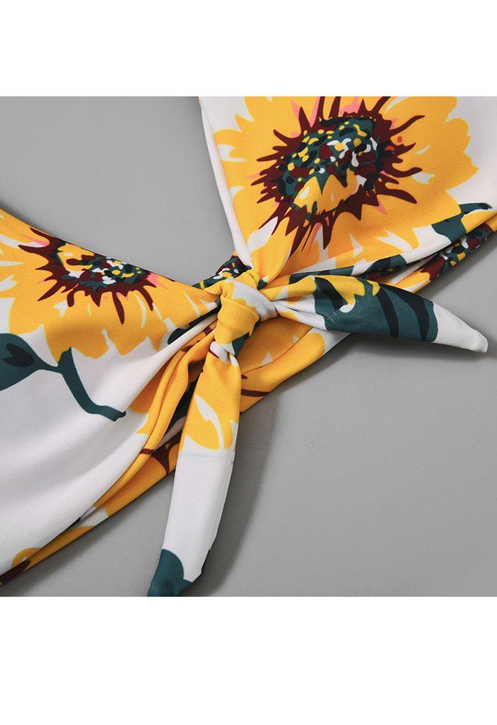 Sunflower Print Knot Front Low Rise Bikini Set