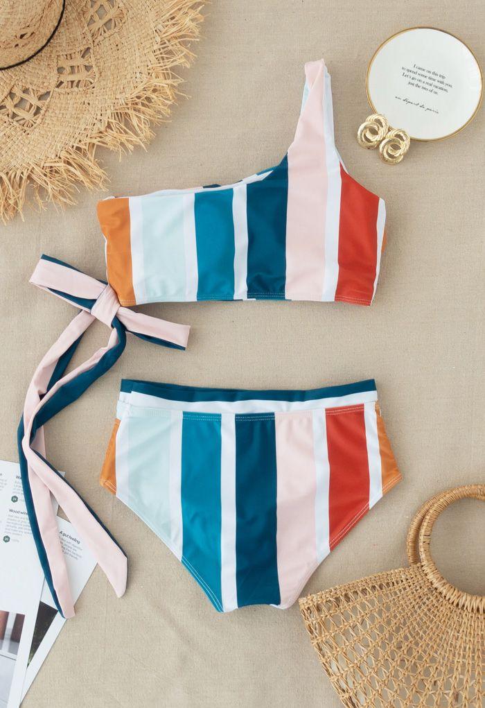 Color Block Stripe Bowknot One-Shoulder Bikini Set